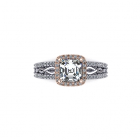 14kt white and rose gold halo-style engagement ring with a high polish scroll design.