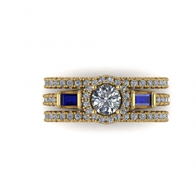 14kt yellow gold and blue sapphire halo-style wedding set.