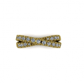 14kt yellow gold criss-cross style band with prong-set diamonds.