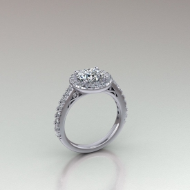 14kt white gold halo-style diamond engagement ring with a round diamond center stone.