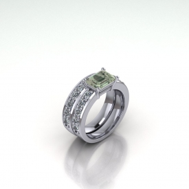 14kt white gold wedding set with an emerald cut, green amethyst center stone set horizontally and round diamonds on both the engagement ring and the wedding band.