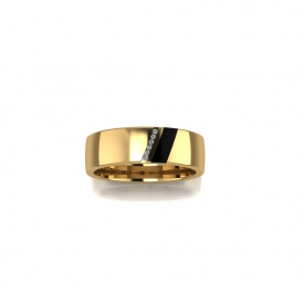 14kt yellow gold gents band with a specialty cut black onyx and channel set round diamonds.