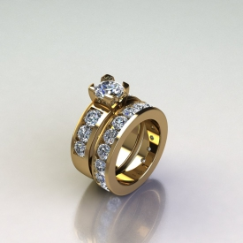 14kt yellow gold wedding set with round brilliant cut diamonds channel set throughout and a round diamond set in the center.