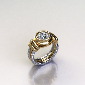 14kt white and yellow gold ring with a bezel set round brilliant cut center in yellow gold, and the sides being a cable design in white gold.