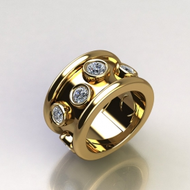 14kt yellow gold fashion ring with scattered bezel set round brilliant cut diamonds.