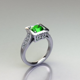 Platinum antique style gemstone ring with round brilliant cut diamonds down either side and a filigree design under the center.