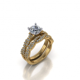 14kt yellow gold wedding set with a twist-style to each the band and engagement ring that have prong set diamonds set throughout.