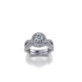 14kt white gold halo-style engagement ring with a round brilliant cut diamond in the center, and sides that twist with shared prong diamonds set throughout.