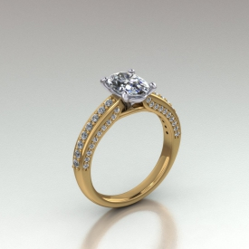 14kt yellow and white gold engagement ring that has an oval shaped center diamond and diamonds set on all three sides of the shank of the ring.