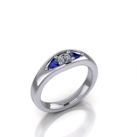 10kt white gold band with trillion shaped blue sapphires set on either side of a round brilliant cut diamond center.