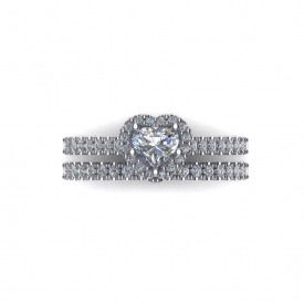 14kt white gold halo-style wedding set with a heart shaped diamond in the center and round brilliant cut diamonds prong-set throughout.