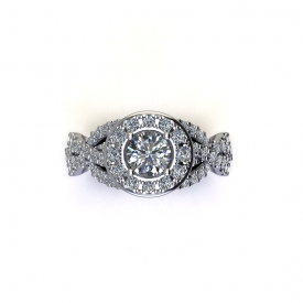 14kt white gold halo, twist-style engagement ring with a round diamond center and prong set diamonds set throughout.
