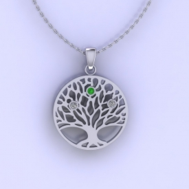 Platinum pendant with a 'family tree' cut out and bezeled birthstones set in the middle.