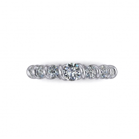 14kt white gold band with diamonds set in the twist style shank.