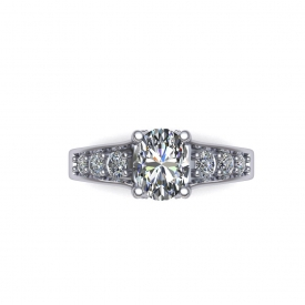 14kt white gold engagement ring with an oval shaped diamond center and round diamonds on either side that taper from larger to smaller.