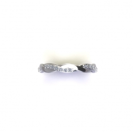 Platinum twist- style fashion band that has round diamonds prong set on half of the design and a high polish finish on the other half.