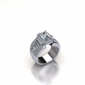 14kt white gold ring with an emerald cut center diamond that has a halo of round brilliant cut diamonds surrounding it, on either side of the center there are channel set baguettes and prong set round brilliant cut diamonds.