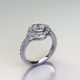 Platinum ring with a bezel cet round diamond center stone, a halo with prong-set round diamonds, and a shared prong setting style on the shank of the ring with round diamonds.
