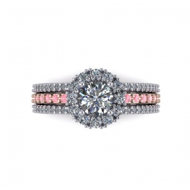14kt white and rose gold halo-style engagement ring with white and pink diamonds set throughout.