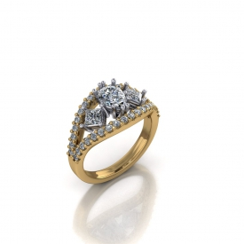 14kt two tone ring with a pear shape and two princess cut diamonds set in white gold in the center and the two outer bands are prong set with round brilliant cut diamonds.