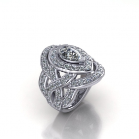 14kt white gold double-halo style ring with interwoven sides, there are bead set round brilliant cuts set throughout, and a pear shaped diamond center stone.