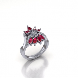 14kt white gold fashion ring with a twisted row of round brilliant cut diamonds in the center and outer bands of marquise rubies.
