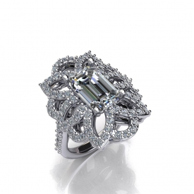 18kt white gold fashion ring with an emerald shape diamond center and a floral-type design surrounding it with round brilliant cut diamonds prong set throughout.