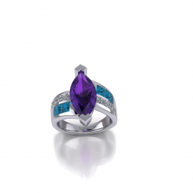 14kt white gold gemstone ring that has a marquise shaped amethyst for the center stone, princess cut london blue topaz and diamonds on the sides that are channel set, and a off-set design with high polished white gold.