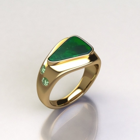 14kt yellow gold fashion ring with a specialty cut center gemstone and direct set round gemstones down either side.