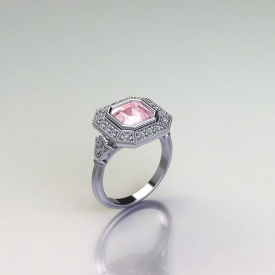 14kt white gold antique style ring with a asscher cut morganite gemstone center stone, round diamonds set in a halo and in shank, and a beaded finish.