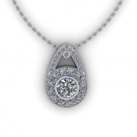 14kt white gold halo-style pendant with diamonds going around the round center diamond and on the bale of the pendant.