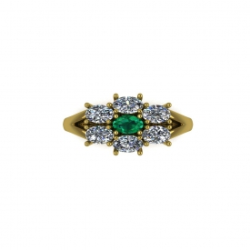 14kt yellow gold cluster-style fashion ring with oval diamonds and emerald set in an oval shaped cluster.