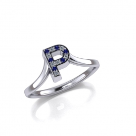 10kt white gold fashion ring that has a 'P' as the center with alternation blue sapphire and white brilliant cut diamonds.