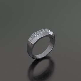 14kt white gold gents band that has a squared off top and channel set princess cut diamonds going across the top.
