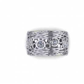 10kt white gold fashion ring with bezel set round brilliant cut diamonds in the center, and an interwoven pattern on the top and bottom.