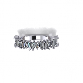 14kt white gold fashion diamond band with tapered baguettes and marquise diamonds set throughout in an uneven form.