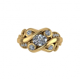 14kt yellow gold fashion ring with a round diamond centers tone, and round diamonds set throughout in the scroll designs.