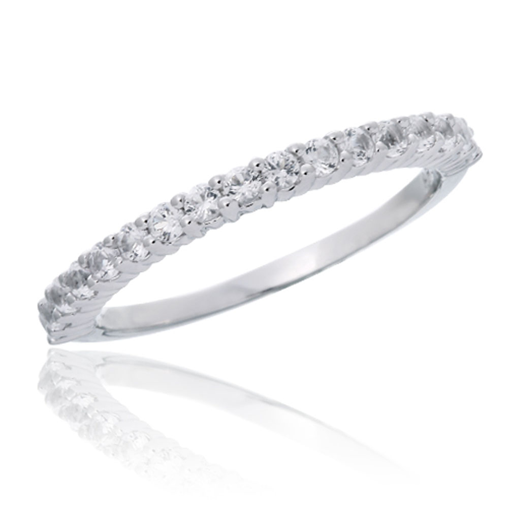 afdfbabbdbe6e 10K White Gold Created White Sapphire Stackable Ring